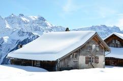 Wakacyjne chałupy w Braunwald, Szwajcaria Obraz Stock