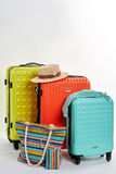 Wakacyjne walizki i akcesoria Zdjęcie Stock