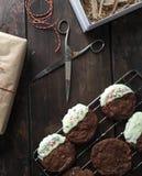 Wakacyjni czekoladowi ciastka z cynamonem obraz stock