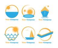 wakacyjni logowie ustawiają sześć podróży wakacje ilustracja wektor