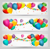 Wakacyjni sztandary z kolorowymi balonami Zdjęcia Stock