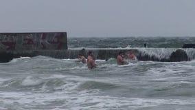 Wakacyjny christening kąpać się zimy morze zbiory