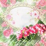 Wakacyjny kartka z pozdrowieniami z baguette i kwitnienia kwiatami Fotografia Stock