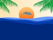 Wakacyjny lato krajobraz z skokowymi delfinami nad morze powierzchnia przy zmierzchem z pomarańczowym słońcem w tła i zieleni kum royalty ilustracja