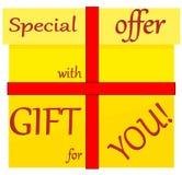Wakacyjny oferty i prezenta prezent dla ciebie loga majcher Obrazy Stock
