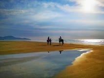 Wakacyjny wjazd z jeździeckimi koniami na dennym brzeg podczas zmierzchu zdjęcia stock
