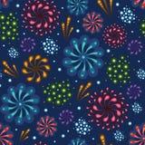 Wakacyjnych fajerwerków bezszwowy deseniowy tło Obrazy Royalty Free