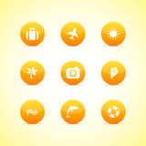 wakacyjnych ikon pomarańczowy ustalony temat Zdjęcie Royalty Free