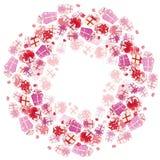 Wakacyjnych prezentów wektorowy plakatowy projekt Ilustracja z różowymi pudełkami royalty ilustracja
