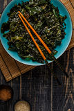Wakame salad, raw seaweed, Japanese cuisine. Royalty Free Stock Photo
