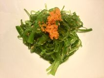 Seaweed Salad. Wakame with Tobiko. Wakame is a sea vegetable, or edible seaweed. It has a subtly sweet flavour and is most often served in soups and salads royalty free stock photos