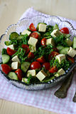 Wakame seaweed salad. With tofu, cherry tomatoes and cucumber Royalty Free Stock Photo
