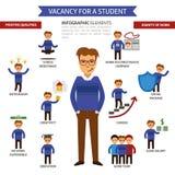 Wakat dla studenccy infographic elementy, Headhunter, rewizi praca TARGET602_0_ dla pracownika ilustracja wektor