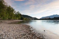 Wakatipu水湖在女王镇新西兰 图库摄影