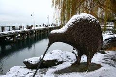 Wakatipu do quivi e do lago coberto na neve Fotos de Stock