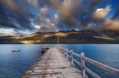 Wakatipumeer, Nieuw Zeeland stock foto's