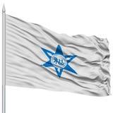 Wakayama Capital City Flag on Flagpole, Flying in the Wind, Isolated on White Background Royalty Free Stock Photo
