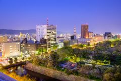 Wakayama City, Japan. Cityscape at twilight Royalty Free Stock Image