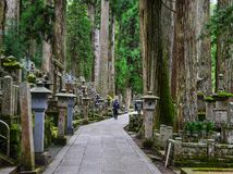 Okunoin Cemetery on Mt. Koya in Japan. Wakayama, Japan - Nov 24, 2016. Okunoin Cemetery on Mt. Koya in Wakayama, Japan. Okunoin, the mausoleum of Kukai Stock Photos
