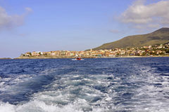 Wake. View of the wake behind a fast moving boat, Marina di Camerota, Italy Royalty Free Stock Images