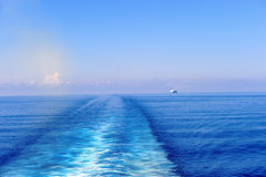 Wake behind a cruise ship Stock Image
