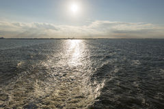 Wake behind the ferry from Harlingen to Vlieland in the Netherla Royalty Free Stock Images