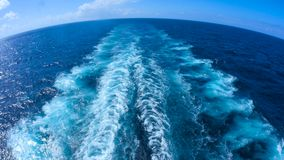 Wake behind large Cruise ship stock video