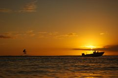 Wake board Sunset II Royalty Free Stock Image