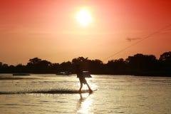 Wake Boarder Near Sunset Royalty Free Stock Image