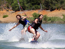 Wake boarders Stock Photos