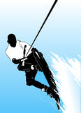 Wake boarding. Silhouette vector illustration Royalty Free Stock Images