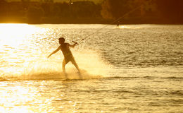 Wake- boarding on the lake Stock Image