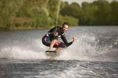 Wake bord rider having the fun Stock Image