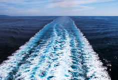 Wake cruise ship. Wake in the ocean made by cruise ship royalty free stock photo