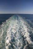 Wake of cruise ship as it cruises Mediterranean Ocean, Europe Royalty Free Stock Photography