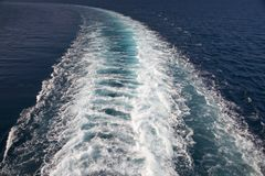 Wake of cruise ship as it cruises Mediterranean Ocean, Europe Royalty Free Stock Photos