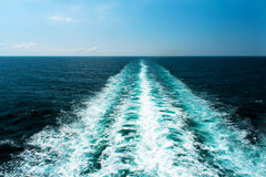 Wake From a Cruise Ship. With a blue sky and sea Stock Photography