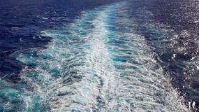 Wake of a Cruise Ship of the Coast of Kauai, Hawaii Stock Photography