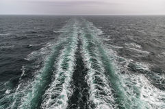 Wake of a Danish ferry en route to the Faroe Islands Stock Images