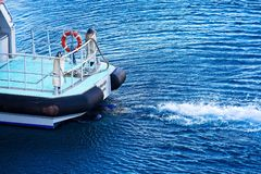 Wake on Diving Boat royalty free stock photography