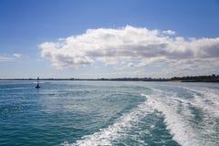 Wake of Fast Catamaran Leaving Darwin Stock Images