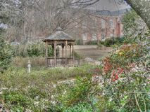 Historical buildings and gardens at the Southeastern Baptist The. Wake Forest, North Carolina, USA – November 21, 2012: Historical buildings and gardens royalty free stock image