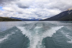 Wake on Maligne lake. In Canada Royalty Free Stock Images