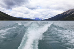 Wake on Maligne lake. In Canada Royalty Free Stock Photography