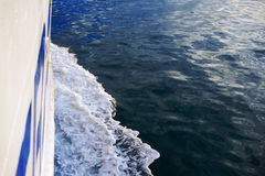 Wake in the ocean made by cruise ship Stock Photo
