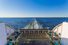 Wake in the ocean made by cruise ship Stock Images