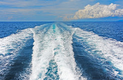 Wake pattern generated by a small boat. Royalty Free Stock Photo