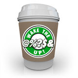Wake the @%?S& Up Coffee Cup Raise Awareness Alert Royalty Free Stock Photography