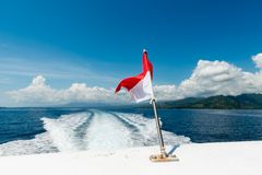 Wake of a speedboat on the ocean Royalty Free Stock Photography