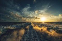Wake at sunset Royalty Free Stock Images
